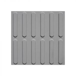 Taktil ledelinjeflis i grå Desmopan på 30 x 30 cm med tape lim
