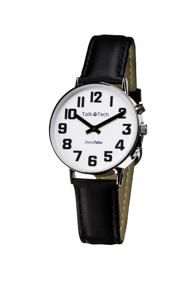 Et armbåndsur med god kontrast på tall og visere og som kan lese opp tiden. Sort på hvit bakgrunn med skinnreim.